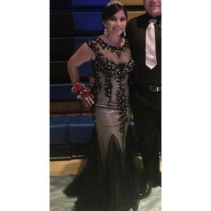 Fitted Black beaded Prom/Homecoming Dress